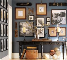 Love the wall color and mix-match of the photos.