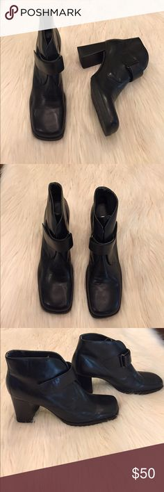 NWOT UNISA BLACK ANKLE HEELED BOOTS EUC! Worn VERY few times!  No flaws. Minor creasing of the genuine leather near the toe. Very comfortable and fashionable for the fall and winter time! The adjustable straps are Velcro. Heel height is 3 1/2in long. Unisa Shoes Ankle Boots & Booties