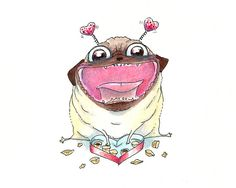 Funny Valentine's Day Card - Love and Heavy Breathing Cute Pug Valentine or Pug Love Note Card from INKPUG! on Etsy, $4.50