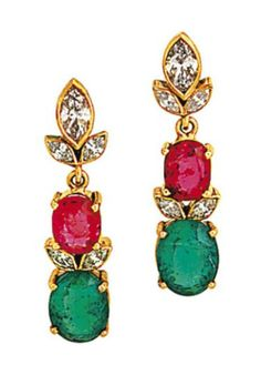 A pair of emerald, spinel and diamond earrings  Each oval-cut emerald and red spinel with twin marquise-cut diamond spacers to a marquise-cut diamond floral surmount, post fittings, 3.5cm long