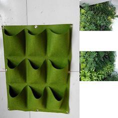 Glovion Green 9 Pocket Green Vertical Garden Planter Wall-mounted Planting Flower Grow Bag for Mess-free Indoor & Outdoor Use (Green)