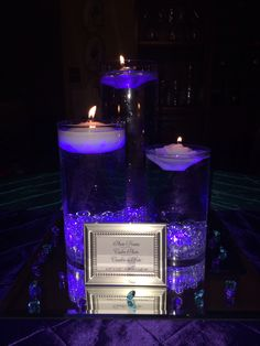 Center pieces I made for my blue and purple wedding.