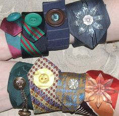 """repurpose men's silk ties... great use for """"orphan"""" vintage carved mother-of-pearl or rhinestone buttons... or even dapper cuff links..."""