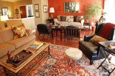 Warm and Eclectic Living Room - traditional - Living Room - Boise - Judith Balis Interiors Living Room Orange, Accent Walls In Living Room, Eclectic Living Room, Rugs In Living Room, Living Room Designs, Living Room Decor, Orange Accent Walls, Furniture Arrangement, Room Colors