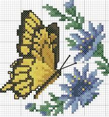 Resultado de imagen de cross stitch flowers and butterflies