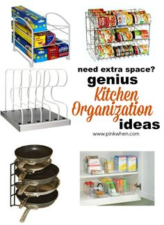 Genius Ideas for Organizing the Kitchen The kitchen can be one of the hardest places to get organized and to stay organized. I have a small kitchen space, but with a few kitchen organization gadgets I can store a ton. Home Organisation, Kitchen Organization, Organization Hacks, Kitchen Storage, Organizing Ideas, Kitchen Organizers, Pantry Storage, Kitchen Hacks, New Kitchen