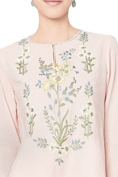 Buy Blush cotton georgette tunic by Anita Dongre at Aza Fashions Embroidery On Kurtis, Kurti Embroidery Design, Kurta Designs, Blouse Designs, Kurti Sleeves Design, Pakistani Dresses Casual, Designs For Dresses, Embroidered Clothes, Indian Designer Outfits