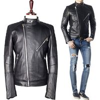Stylehomme 90087 TI 엠보싱 숄더 라이더 가죽자켓 (Black)