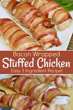 This easy 3 ingredient Bacon Wrapped Stuffed Chicken is full of flavoured cream cheese and wrapped in bacon love - which is crisp bacon baconwrapped stuffedchicken easyrecipe Easy Chicken Recipes, Crockpot Recipes, Easy Dinner Recipes, Easy Meals, Cooking Recipes, Recipes With Chicken Tenders, Bacon Recipes For Dinner, Weeknight Meals, Easy Recipes