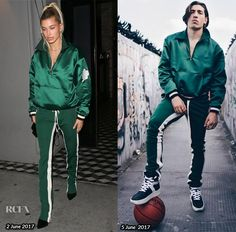 Hailey Baldwin along with her the Hadid's and Jenner's are taking the sports luxe trend to a whole new level by looking to menswear. The blonde model was Hector Bellerin, Blonde Model, Sports Luxe, Androgyny, Hailey Baldwin, Baby Skin, Green Jacket, Red Carpet Fashion, Formal Wear