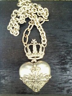 Ex Voto Heart crown Pearl Rosary OOAK necklaceStatement Royal Jewelry, Vintage Jewelry, Jewellery, Heart Crown, Medieval Fashion, Vintage Heart, Upcycled Vintage, Gifts For Mom, Fashion Jewelry