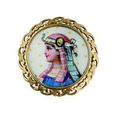 Victorian Limoges Egyptian Revival Enamel Pin | 1stdibs.com