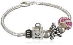 CHARMED BEADS Sterling Silver Born to Shop Bead Charm Bracelet, 7.5' *** More info could be found at the image url.