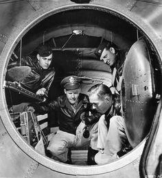 Interior of the rear pressurized cabin of a B-29 bomber, Jun 1944