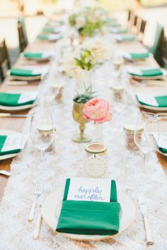 Forest green pops on this wedding table:http://www.stylemepretty.com/little-black-book-blog/2014/11/07/south-african-winemaker-marries-in-napa/ | Photography: onelove - http://www.onelove-photo.com/