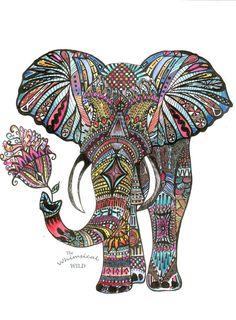 Elephant Art Print by Rylee Postulo, Ink Illustration, Watercolour Painting… Mandalas Painting, Mandalas Drawing, Mandala Art, Zentangles, Elephant Love, Elephant Art, Doodle Drawings, Doodle Art, Zentangle Elephant