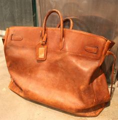 View this item and discover similar for sale at - Enormous, rare Hermes leather travel bag. A beautiful, unique way to travel in style. Leather Card Wallet, Leather Bags, Leather Satchel, Leather Handbags, Travel Bags For Women, Women Bags, Art Bag, Vintage Leather, Hermes Vintage