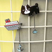 Free shipping Cute Cat with Fish Boat with Anchor Brooch Pins,Fashion Jewelry Wholesale HY(China (Mainland))
