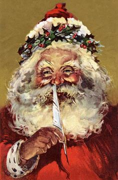 Vintage Christmas postcard of Santa Claus holding a feather to his nose Stock Illustration Santa Claus Images, Vintage Santa Claus, Vintage Santas, Santa Clause, St Claus, Vintage Christmas Images, Victorian Christmas, Christmas Pictures, Christmas Postcards