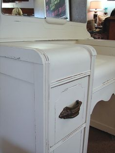 1940's Reclaimed White Painted Vintage Art Deco by CURIOSITYNC, $445.00