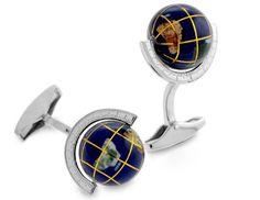 Tateossian.com - Globe Cufflinks in Silver with Semi Precious Stone