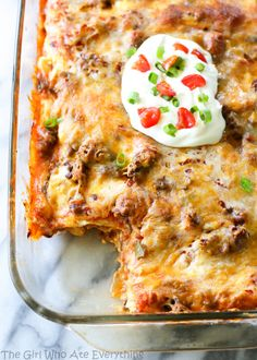 Taco Lasagna. Great idea! Could also use enchilada sauce and beans or taco spiced lentils instead of beef.