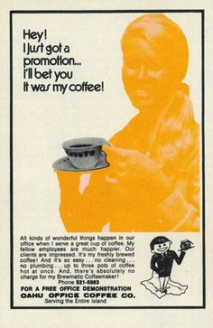 An advert for the Brewmatic coffee maker. | 15 Unbelievably Sexist Adverts From The 1970s