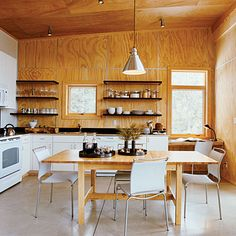 thrifty; PLYWOOD for walls and ceiling as used in this cabin.