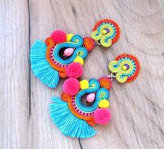 Pendientes de borla de colores Clip sobre los pendientes