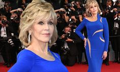 Jane Fonda, 77, wows in blue Versace on the red carpet at Cannes