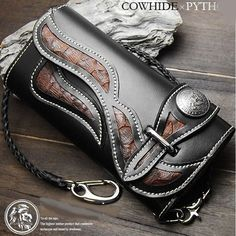 Biker Long Wallet Genuine Leather Native Design Rider Mens Chain Purse Black RD2   Clothing, Shoes & Accessories, Men's Accessories, Wallets   eBay!