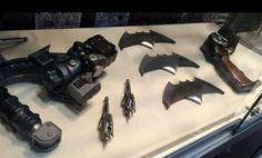 Batman's new arsenal of gadgets, used in the filming of Batman v. Superman: Dawn of Justice, on display at San Diego ComicCon 2015
