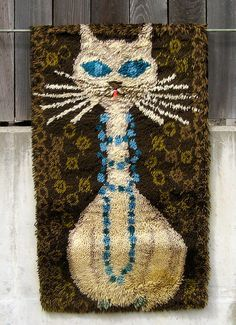 Cat with Blue Necklace #LatchHook Rug #DIY Kit