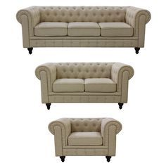 Found it at Wayfair - Chesterfield 3 Piece Grace Linen Living Room Set