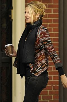 blake lively in twelfth street by cynthia vincent ikat blazer    LOVE MY billabong dreamcatcher cardi   <3 some thing. totes comfy