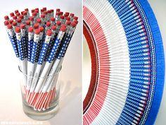 Stars & Stripes Pencil Mirror | 30 Amazing DIY Mirrors