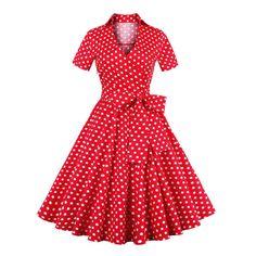 Women Vintage Hepburn 1950S Retro Polka Dot Prom Dress Rockabilly Swing Dress