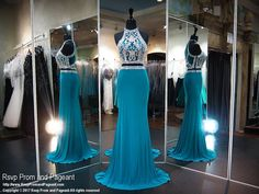 Teal Beaded Jersey Fitted Two Piece Prom Dress Pretty Dresses, Sexy Dresses, Short Dresses, Formal Dresses, Teal Homecoming Dresses, Pageant Dresses, Dress And Heels, Dress To Impress, Gowns