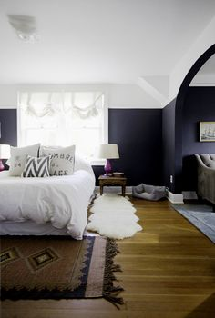 Wall paint treatment, dark walls, two-tone walls, black walls, bohemian bedroom Dream Bedroom, Home Bedroom, Bedroom Decor, Master Bedroom, Bedroom Ideas, Blush Bedroom, Gothic Bedroom, Bedroom Images, Design Bedroom
