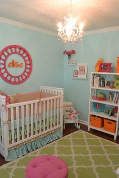 Turquoise, Pink, Orange and Green Nursery - love all the color!