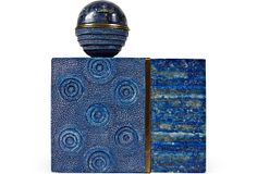 Contemporary purse with shagreen and lapis lazuli veneer and brass trim. Round ball on top rotates open to a mirror.