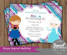 Frozen Invitation Princess Anna Elsa Disney Inspired Birthday Party Card Digital Printable DIY on Etsy, $16.00