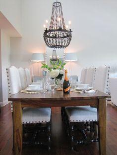 wood table + bead chandelier