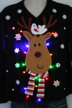 Ugly Christmas Sweater - Reindeer ~ with LED Lights