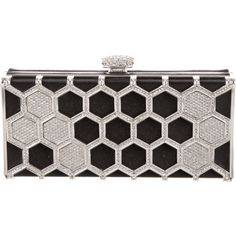 Pre-owned Judith Leiber Bee Line Satin Minaudi?re (11 330 ZAR) ❤ liked on Polyvore featuring bags, handbags, clutches, black, judith leiber purses, judith leiber clutches, pre owned handbags, preowned handbags and judith leiber handbags