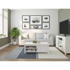60 Brookside Tv Console Ivory Oak - Room & Joy - March 17 2019 at Living Room Modern, Living Room Interior, Small Living, Living Room Designs, Living Room Decor, Decorating A Large Wall In Living Room, Coastal Living, Living Room Gallery Wall, Living Area