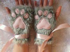The Funniest Cat Moment - Cute Grey Furry Cat Kitty Fox Neko Pink Paw Print Fingerless Gloves Wrist Warmers Halloween Costume Christmas Chesire Cat, Cat Furry, Kawaii Accessories, Rosa Rose, Kittens Playing, Halloween Disfraces, Wrist Warmers, Cat Costumes, Kawaii Fashion
