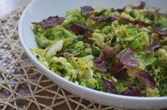 Simple Sautéed Brussels Sprouts with Bacon (shredded for a more tender sprout)