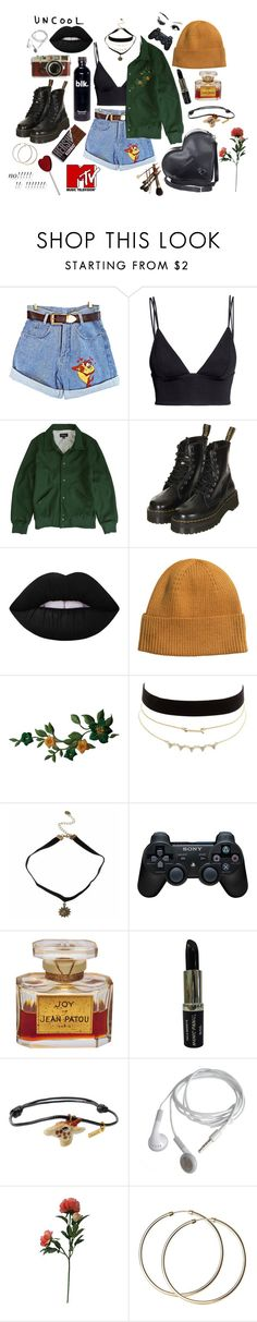"""""""i don't know"""" by irissokk ❤ liked on Polyvore featuring H&M, Brixton, Topshop, Lime Crime, Charlotte Russe, Leica, Sony, Manic Panic NYC, Nach and Dr. Martens"""