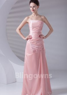 Pink Strapless Lace Up Taffeta Floor Length Ruched A-line Sleeveless Evening / Prom Dresses